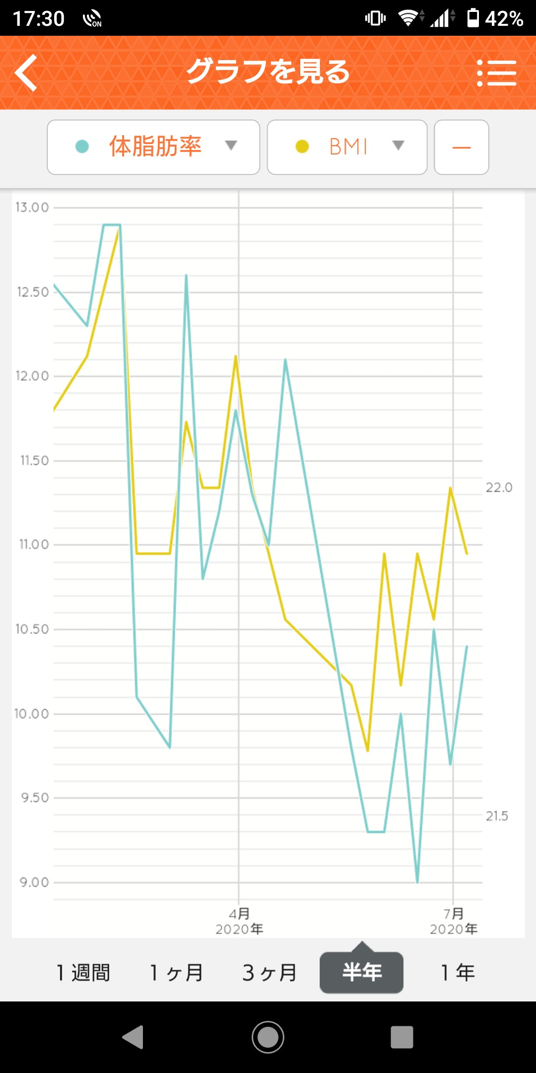 Health Planet グラフ(BMI・体脂肪率)